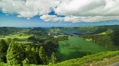 Timelapse of the twin lake of Sete Cidades, in the Azores islands, Portugal. Stock Footage
