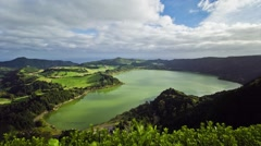 Timelapse of the Furnas lake in Sao Miguel island, Azores, Portugal Stock Footage