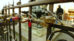 Italy padlocks of lovers in Florence Ponte Vecchio Stock Footage