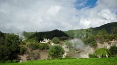 Timelapse of plumes of smoke of a volcanic caldera in the Azores, Portugal. Stock Footage