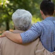 Relation between grandson and grandfather - stock photo