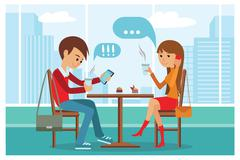 Couple in cafe - Vector Illustration with city landscape on window Stock Illustration
