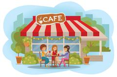 Vector illustration of people at the cafe outdoor. Three friends women sitting Stock Illustration