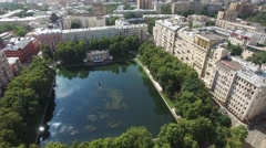 Helicopter flight over Moscow city center. Garden ring road traffic. Historic bu - stock footage