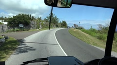 Ride on Bermuda public Breeze Bus. FPV view from the windshield. Stock Footage
