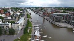 City reveal, frigate, Skandinavia Finland Turku 4K aerial footage Stock Footage