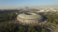 Luzhniki Stadium Olympic Complex Moscow city. Construction. Moscow river. Drone  Stock Footage