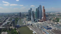 Russian skyscrapers flight over aerial view. Moscow city business center fast ap Stock Footage