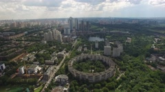 Circle round residential Building Olympic ring. Moscow city Russia. From above v Stock Footage