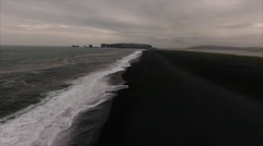 Stationary Shot Viewing Seashore At Black Sand Beach in Vík í Mýrdal Iceland Stock Footage