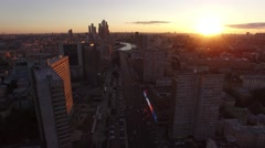 Epic sunset Aerial flight in moscow city center. High altitude. Moscow river, Kr Stock Footage