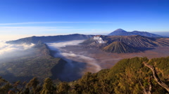 4K Panning timelapse Of Bromo volcano at sunrise, East Java, Indonesia - stock footage