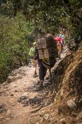 SAGARMATHA, NEPAL-APRIL 26: Porter on the hiking trail 26, 2016 in Sagarmatha - stock photo