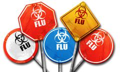 Influenza virus concept background, 3D rendering, street signs Stock Illustration