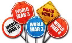 world war 3, 3D rendering, street signs - stock illustration