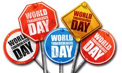 World tuberculosis day, 3D rendering, street signs Stock Illustration