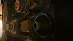 Old 16mm film projector, detail - stock footage