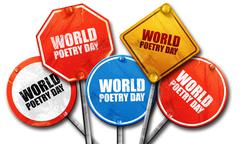 World poetry day, 3D rendering, street signs Stock Illustration