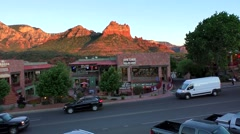 Sedona Arizona, sandstone formations plaza Stock Footage