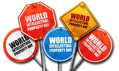 world intellectual property day, 3D rendering, street signs - stock illustration