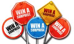 win a surprise, 3D rendering, street signs - stock illustration