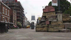 The Hope Street Suitcases, installed by John King in 1998 Liverpool, England Stock Footage