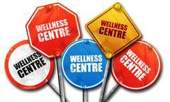 wellness centre, 3D rendering, street signs - stock illustration
