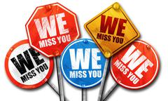 we miss you, 3D rendering, street signs - stock illustration
