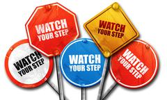 watch your step, 3D rendering, street signs - stock illustration