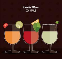 set of Cocktail drink icons with citrus fruits in flat design style, Alcohol - stock illustration