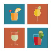 Cocktail drink icon in flat design style, Alcohol Beverage. Vector illustration - stock illustration