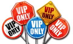 vip only, 3D rendering, street signs - stock illustration