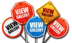 view gallery, 3D rendering, street signs - stock illustration