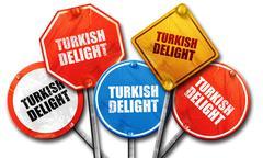 Turkish delight, 3D rendering, street signs Stock Illustration