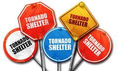 tornado shelter, 3D rendering, street signs - stock illustration