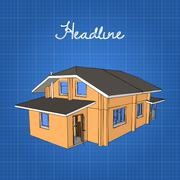 A large wooden house with a porch and a gambrel roof Stock Illustration