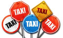 taxi, 3D rendering, street signs - stock illustration
