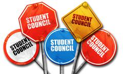 student council, 3D rendering, street signs - stock illustration