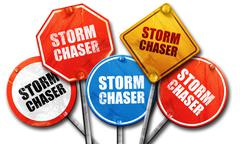 Storm chaser, 3D rendering, street signs Stock Illustration