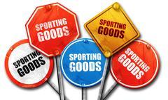 sporting goods, 3D rendering, street signs - stock illustration