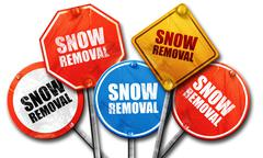 Snow removal, 3D rendering, street signs Stock Illustration