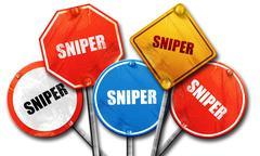 Sniper, 3D rendering, street signs Stock Illustration