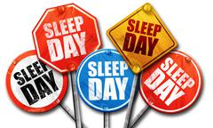 sleep day, 3D rendering, street signs - stock illustration