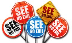 see no evil, 3D rendering, street signs - stock illustration