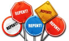 repent, 3D rendering, street signs - stock illustration
