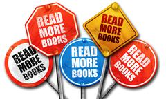 read more books, 3D rendering, street signs - stock illustration