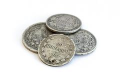 Silver coins. Old expired money - stock photo