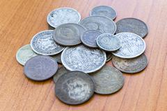 Old expired coins. USSR coins and silver coins - stock photo
