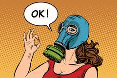 Young woman in gas mask okay gesture - stock illustration