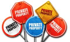 private property, 3D rendering, street signs - stock illustration